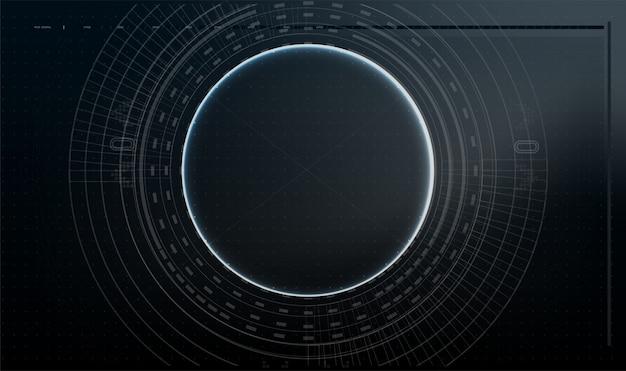Futurystyczny projekt ekranu interfejsu hud wektorowego.