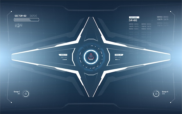 Futurystyczny projekt elementów wyświetlacza head-up.