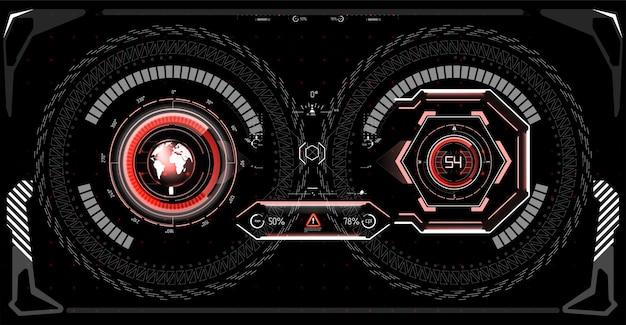 Futurystyczny projekt wyświetlacza head-up vr. hud hełmu sci-fi. projekt wyświetlacza technologii przyszłości.