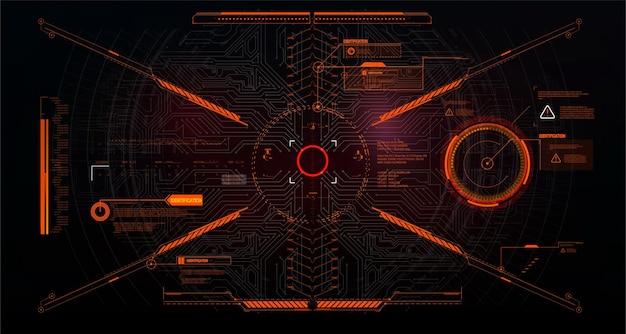 Futurystyczny projekt wyświetlacza head-up vr. hud hełmu sci-fi. technologia przyszłości. futurystyczna ramka na ekran docelowy i panel kontrolny celowania. hud, gui, interfejs ux. wirtualna rzeczywistość.
