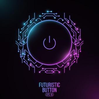 Futurystyczny przycisk zasilania z płytką drukowaną komputera. elementy interfejsu hud. koncepcja interfejsu użytkownika.