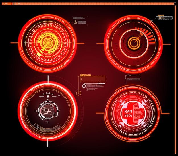 Futurystyczny pulpit nawigacyjny sci-fi hud wyświetla ekran technologii wirtualnej rzeczywistości.