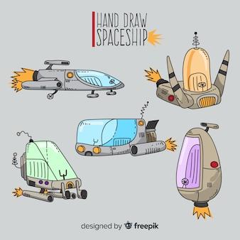 Futurystyczny ręcznie rysowane kolekcja statków kosmicznych