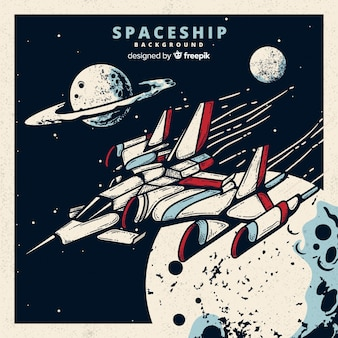 Futurystyczny ręcznie rysowane tło statku kosmicznego