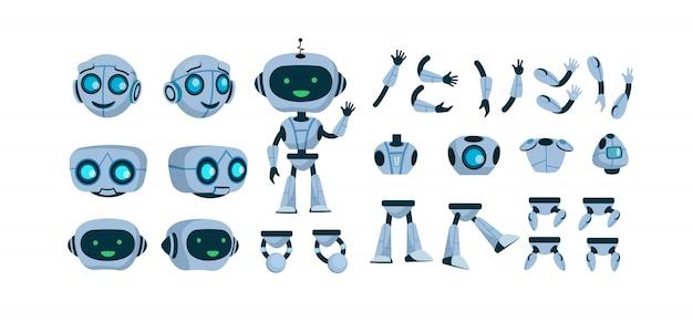 Futurystyczny robota konstruktor płaski zestaw ikon