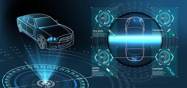 Futurystyczny serwis samochodowy, skanowanie i automatyczna analiza danych. inteligentny samochód.