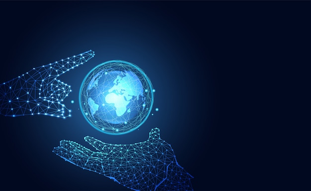 Futurystyczny świat technologii i niebieski szkielet