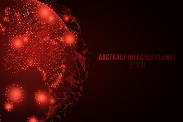 Futurystyczny świat wirusa corona. niebezpieczna infekcja komórkowa. planeta ziemia z kosmosu z epidemią grypy koronawirusa.