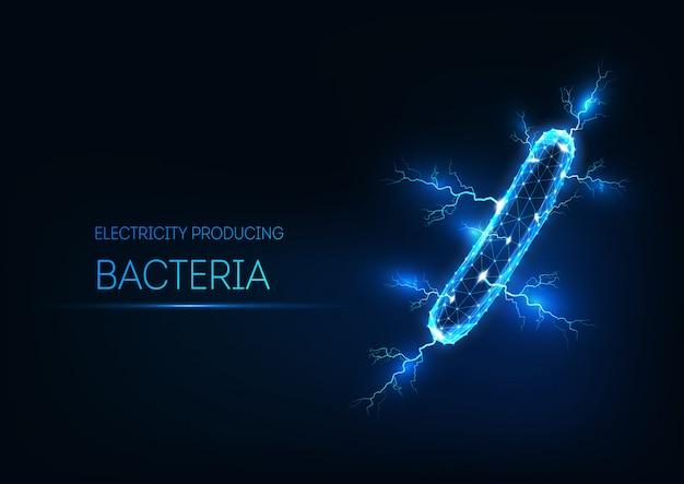 Futurystyczny świecące bakterie produkujące energię elektryczną niskiej wielokąta na białym tle na ciemnym niebieskim tle.