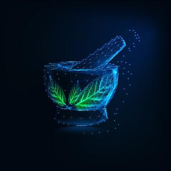 Futurystyczny świecące niskiej wielokąta moździerz i tłuczek z zielonymi liśćmi. logo ziołowej apteki.