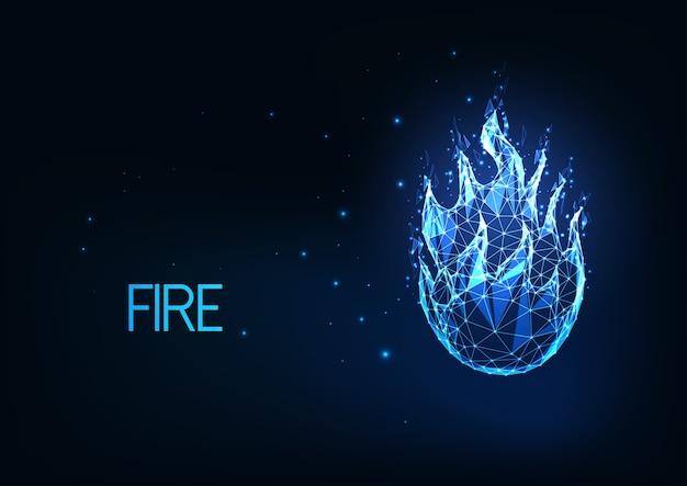 Futurystyczny świecący niski wielokątny ogień, ognisko, jasny niebieski płomień na białym tle na ciemnoniebieskim tle. nowoczesna konstrukcja z siatki drucianej