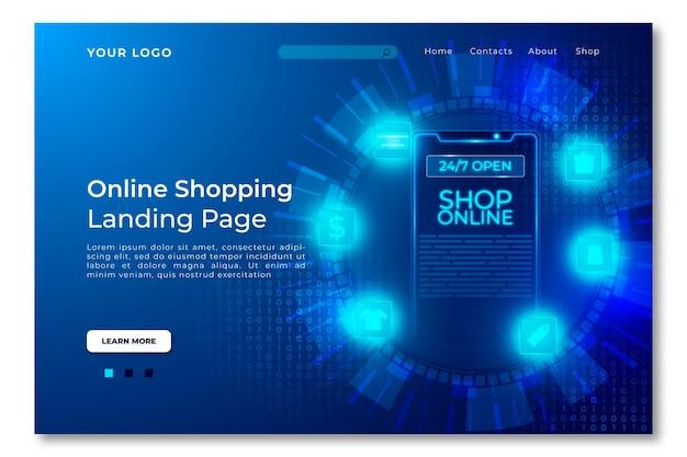 Futurystyczny szablon strony docelowej zakupy online