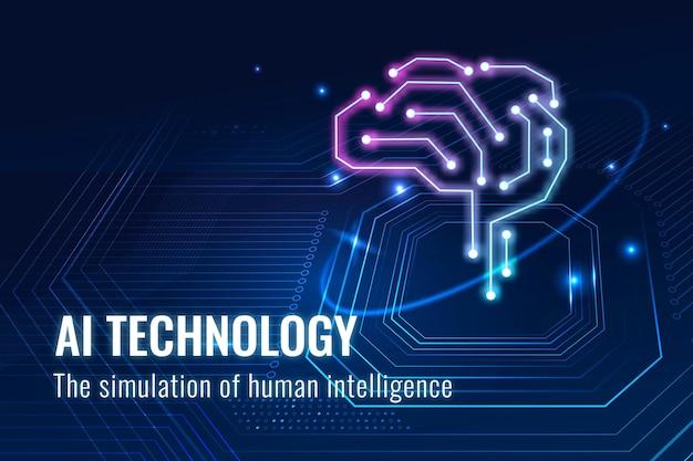 Futurystyczny szablon technologii ai wektor destrukcyjny baner na blogu