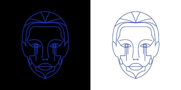 Futurystyczny szablon twarzy robota kobiety