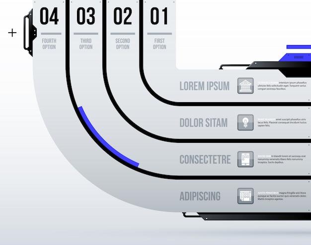 Futurystyczny szablon z czterema okrągłymi opcjami