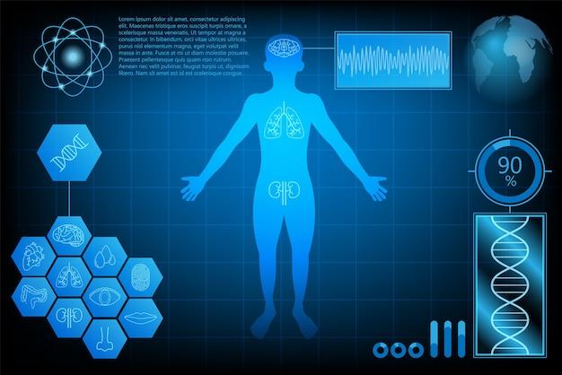 Futurystyczny technologii nauki koncepcji ludzkiego zdrowia danych interfejsu cyfrowego.