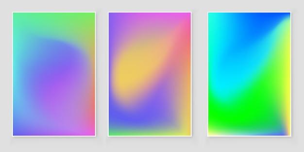 Futurystyczny tło nowoczesny zestaw holograficzny. styl retro z lat 90-tych, 80-tych.