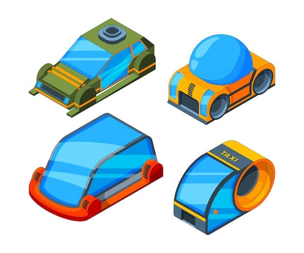 Futurystyczny transport. izometryczne ilustracje futurystycznych samochodów