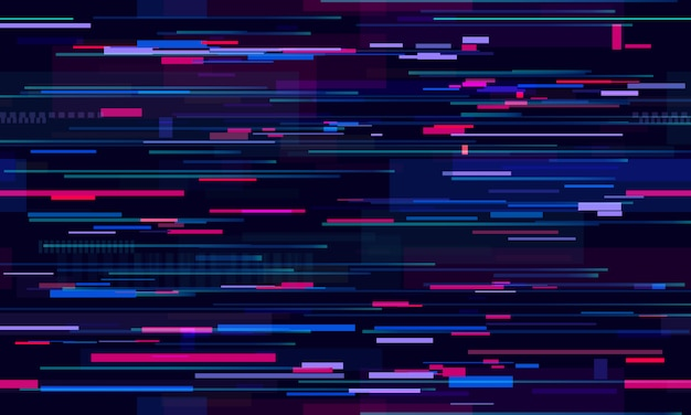 Futurystyczny usterka neonowa. glitched nocne linie technologiczne, ruch uliczny i technologia wzór
