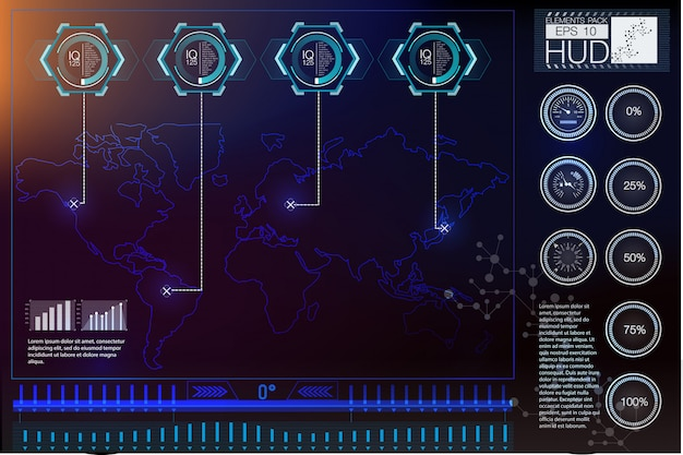Futurystyczny vr head-up display design. hud do kasków sci-fi. future technology display design.