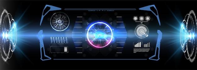 Futurystyczny wektor koła hud, gui, projekt ekranu interfejsu ui.