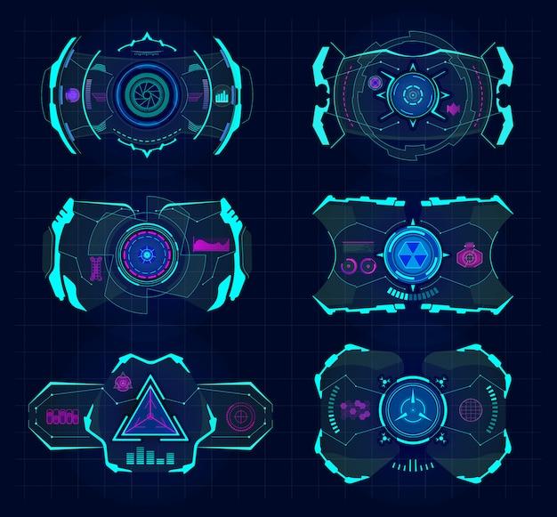 Futurystyczny wirtualny ekran. ramka w technologii hud, wirtualny cel śledzenia, interfejsy urządzeń cyfrowych hud. komputer hud vr przyszły wyświetlacz, zestaw ilustracji inteligentnych okularów