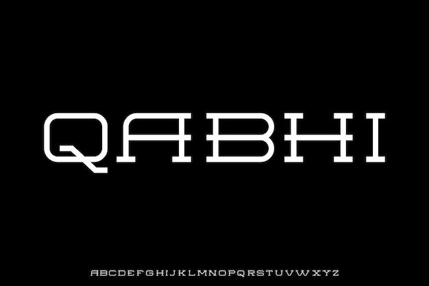 Futurystyczny zestaw czcionek alfabetu geometrycznego