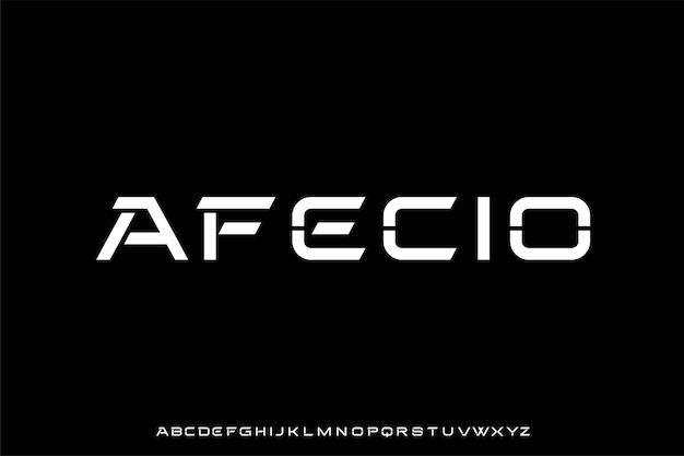 Futurystyczny zestaw czcionek alfabetu wektorowego
