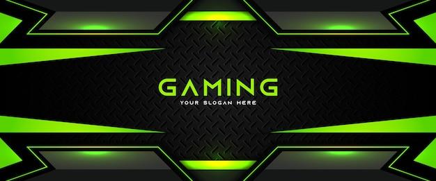 Futurystyczny zielony i czarny nagłówek do gier społecznościowych szablon banera