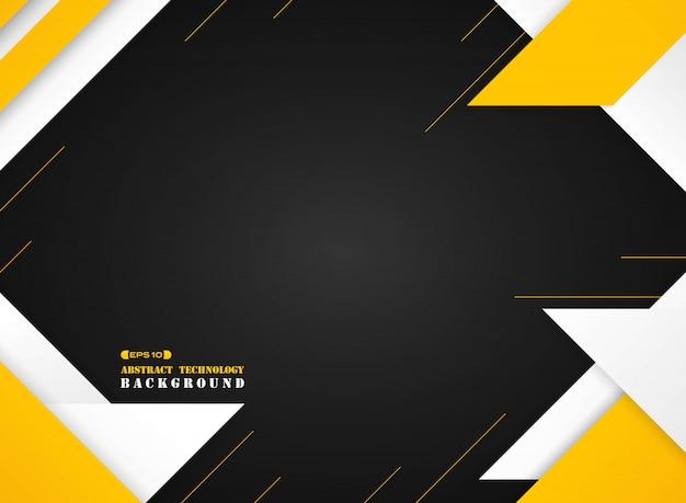 Futurystyczny żółty i biały geometryczny nowoczesny wzór