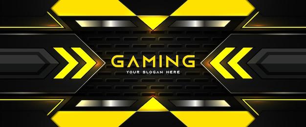 Futurystyczny żółty i czarny nagłówek do gier szablon banera mediów społecznościowych