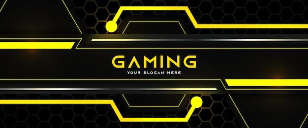 Futurystyczny żółty i czarny nagłówek do gier w mediach społecznościowych szablon