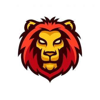 Głowa lwa logo maskotka szablon wektor ilustracja