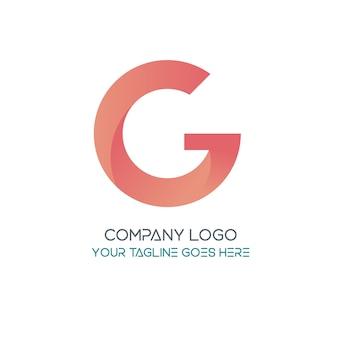 G logo różowy szablon koloru złota