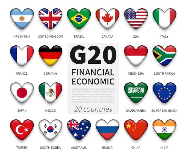 G20 grupa dwudziestu krajów i flaga członkowska. międzynarodowe stowarzyszenie rządu ekonomicznego i finansowego