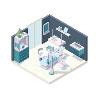 Gabinet dentystyczny. wnętrze kliniki z profesjonalnymi meblami dentystycznymi izometrycznym fotelem medycznym. ilustracja izometryczny wnętrze stomatologiczne, opieka dentystyczna