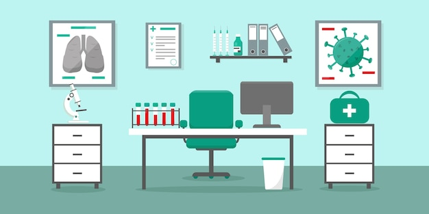 Gabinet lekarski w przychodni lub szpitalu ze stołem lekarza i sprzętem medycznym. laboratorium testów wirusów. ilustracja wnętrza medyczne.