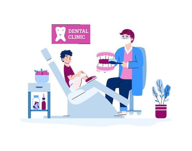 Gabinet stomatologiczny dla dzieci z kreskówka dentysta na białym tle