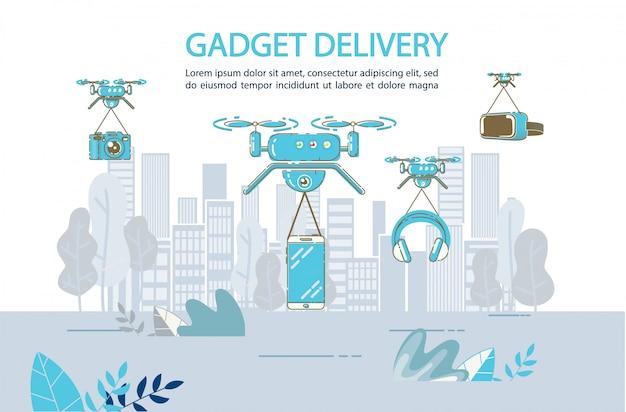 Gadżet dostawa samolotem przez drona do dowolnego szablonu lokalizacji