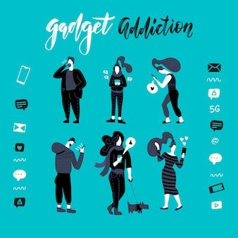 Gadżety, ilustracja uzależnienia od smartfona. czarno-biali ludzie. zestaw kobiet i mężczyzn korzysta z telefonów, czyta wiadomości online, gra w gry, sieć społecznościową, internet.