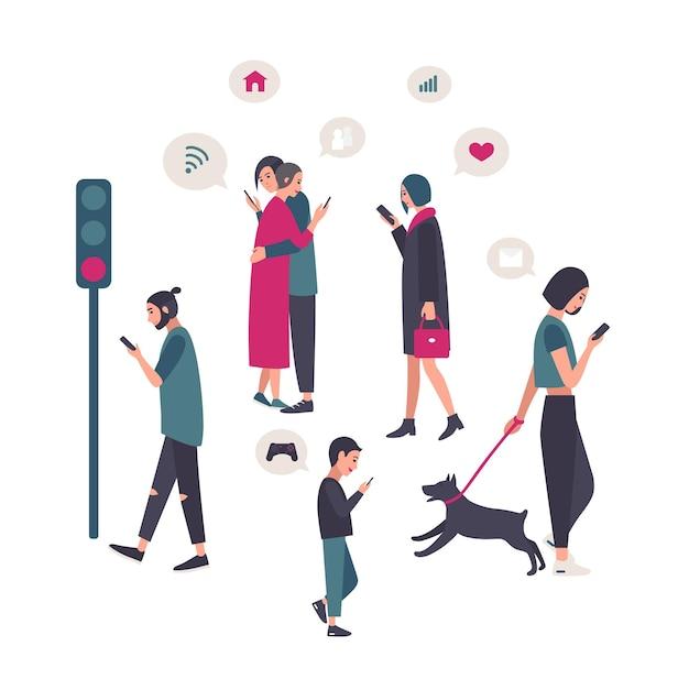 Gadżety, koncepcyjna ilustracja uzależnienia od smartfona z ludźmi na ulicy.