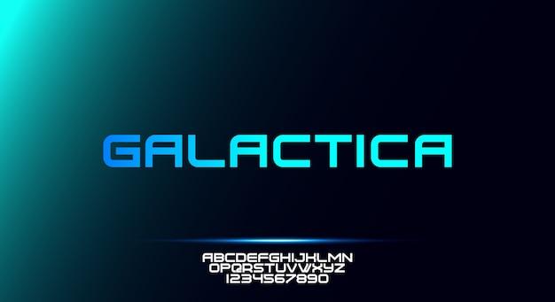 Galactica, odważna, nowoczesna sportowa czcionka z alfabetem typografii