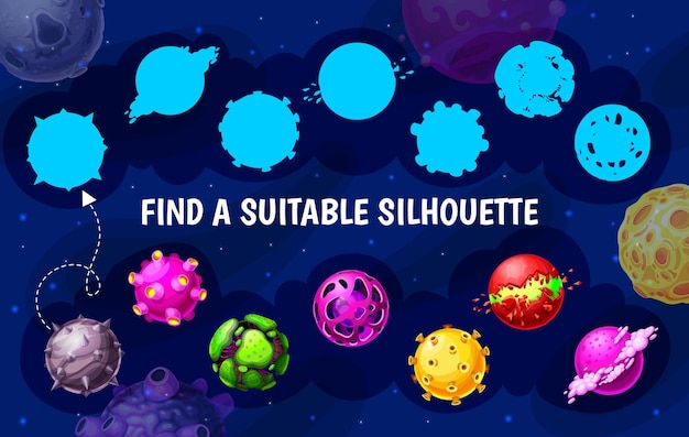 Galaktyczne planety kosmiczne, znajdź odpowiednią sylwetkę, wektorową grę dla dzieci lub puzzle. znajdź i dopasuj sylwetkę, dziecięcą grę planszową z kosmicznymi planetami w galaktyce, kosmosem i meteorytami