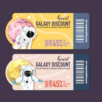 Galaktyka biletowy szablon z astronauta, planety akwareli ilustracja.