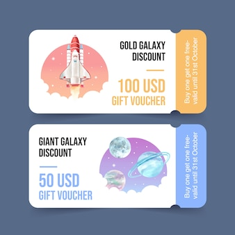 Galaktyka biletowy szablon z rakietą, planety akwareli ilustracja.