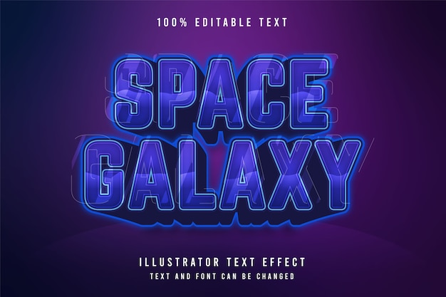 Galaktyka kosmiczna, 3d edytowalny efekt tekstowy niebieski efekt gradacji fioletowy wzór stylu