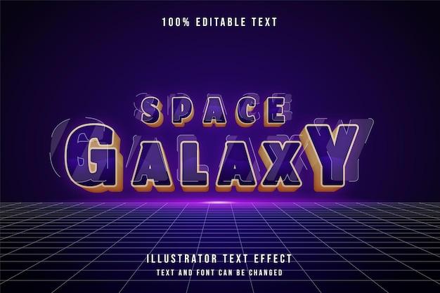 Galaktyka kosmiczna, efekt edytowalnego tekstu 3d fioletowy gradacja żółty efekt stylu