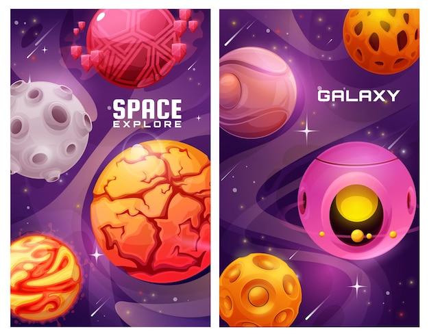 Galaktyka kosmiczna eksploruje plakaty z kreskówkowymi planetami fantasy.