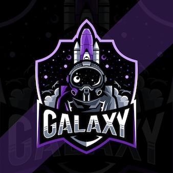 Galaktyka logo maskotka szablon projektu e-sport