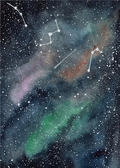 Galaktyka tło akwarela